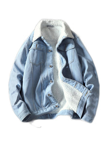 BLUE FUR DENIM JACKET