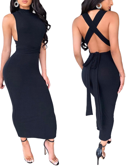 strap-up bodycon dress