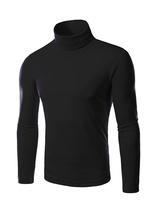 black polo-neck t-shirt