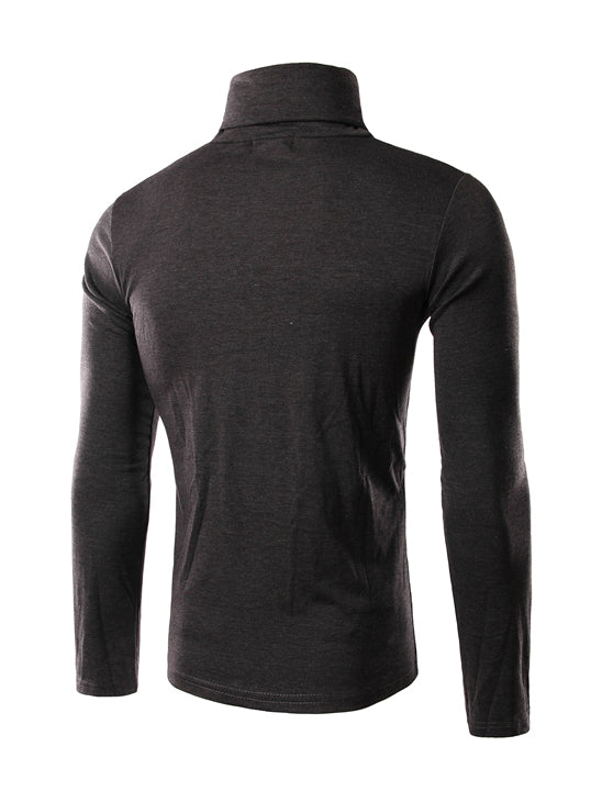 dark gray polo-neck t-shirt