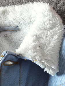 Men's fur denim jacket collar