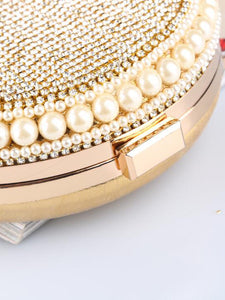 Gold rhinestone circle bag