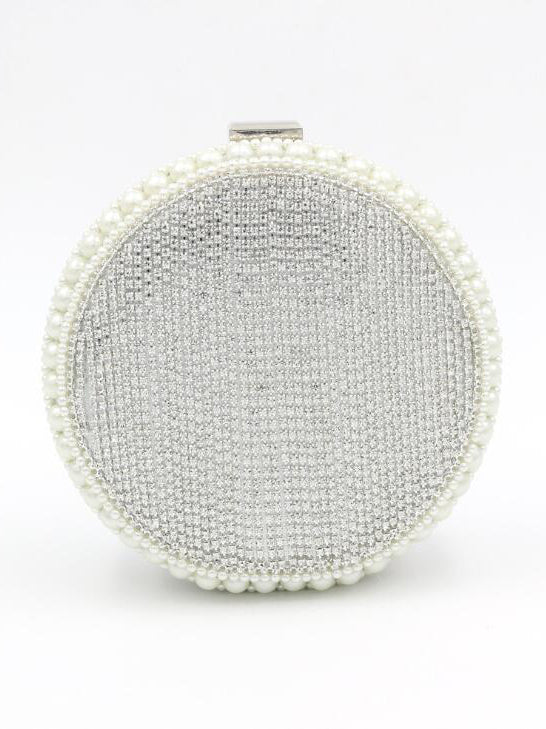 Silver rhinestone circle bag