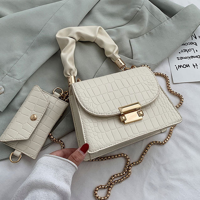 beige shoulder bag with wallet and chain strap