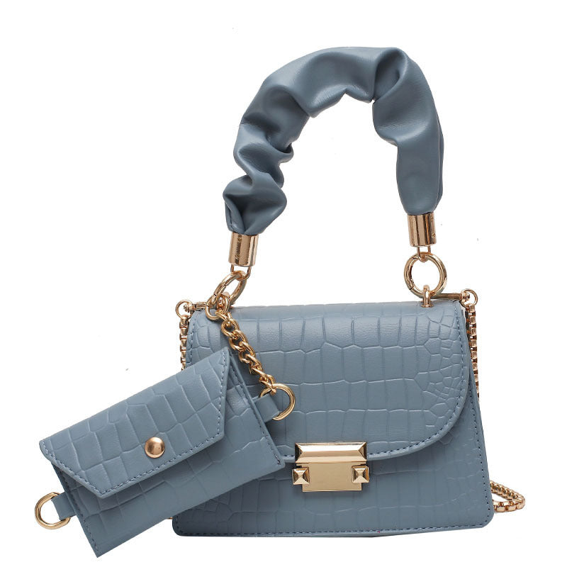 Handbag with chain shoulder strap plus wallet