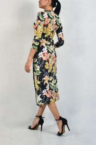 Floral dress with open in the front