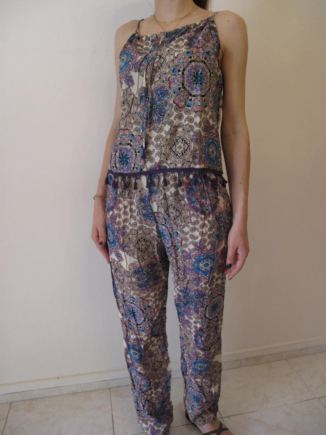 Paisley 2 pieces set crop top with trousers