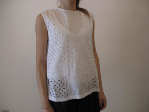Blouse, loose wear with crochet design