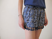 Load image into Gallery viewer, Blue paisley shorts with lace detail