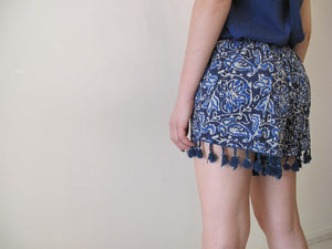 Blue paisley shorts with lace detail