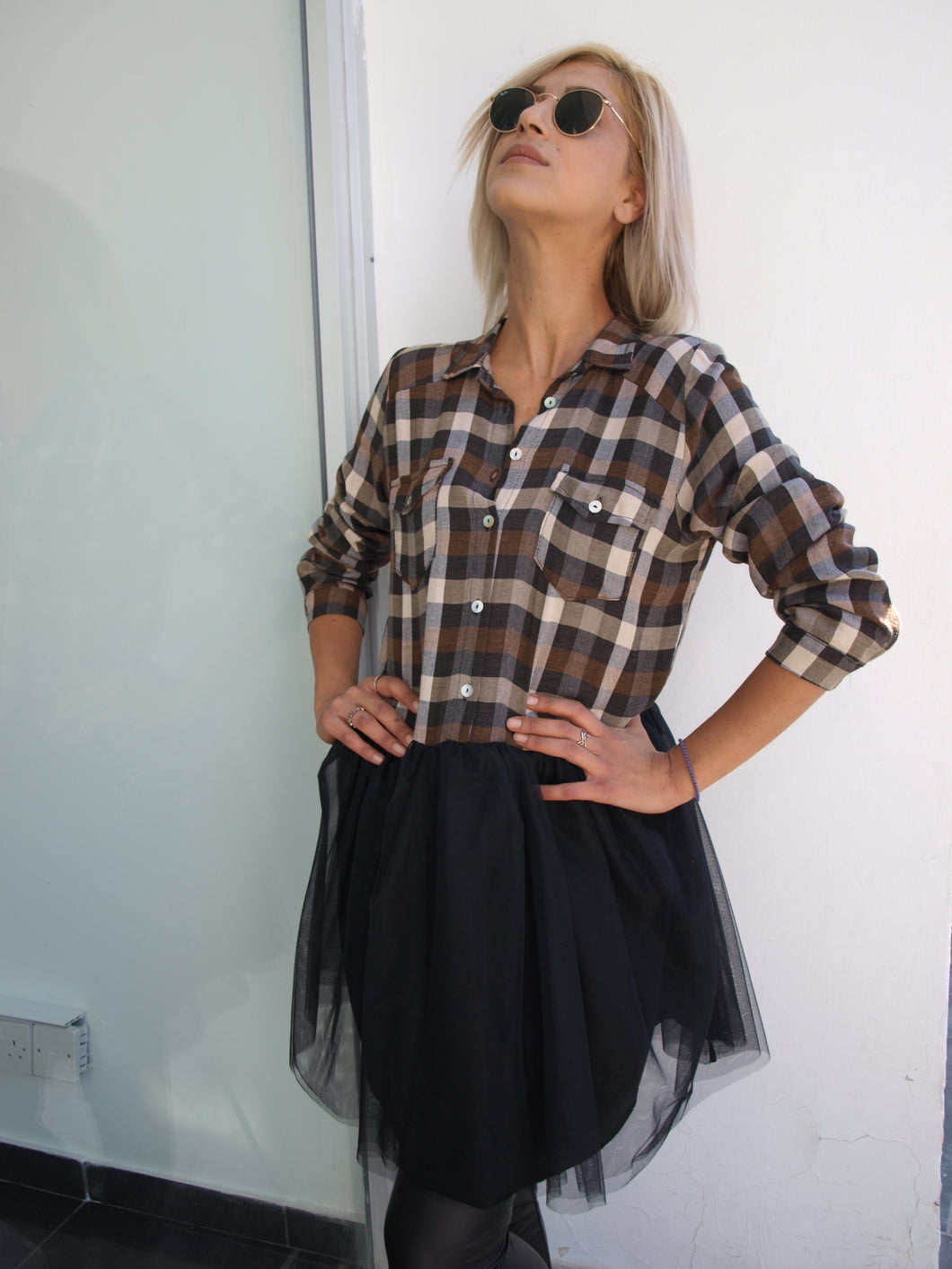 Plaid dress with tulle