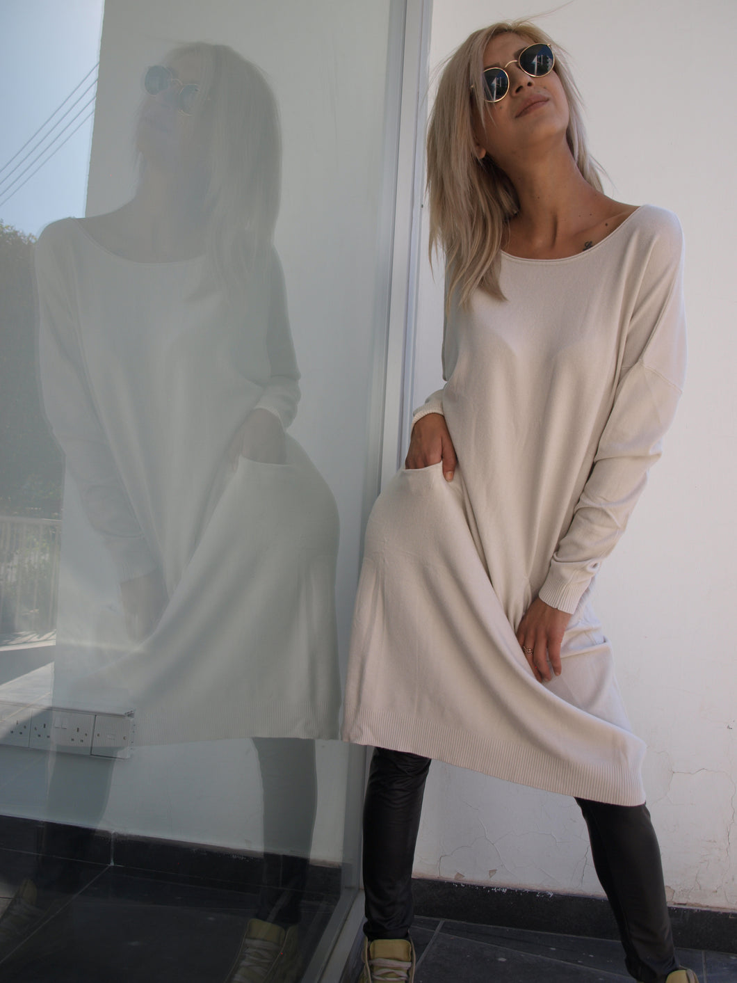 Beige Pullover with pockets