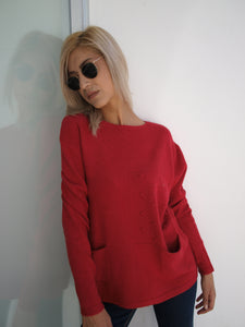 Blouse beige / red / grey