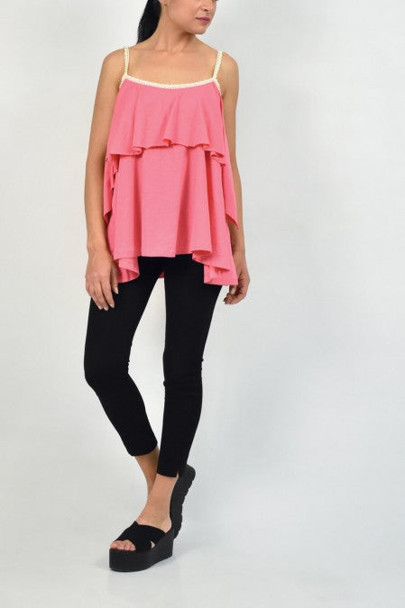 Sleeveless top with ruffles