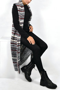Sleeveless striped knitted cardigan