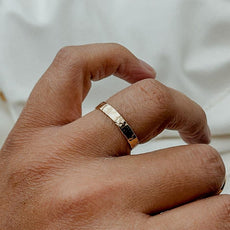 Thick Hammered Band Stacker Ring