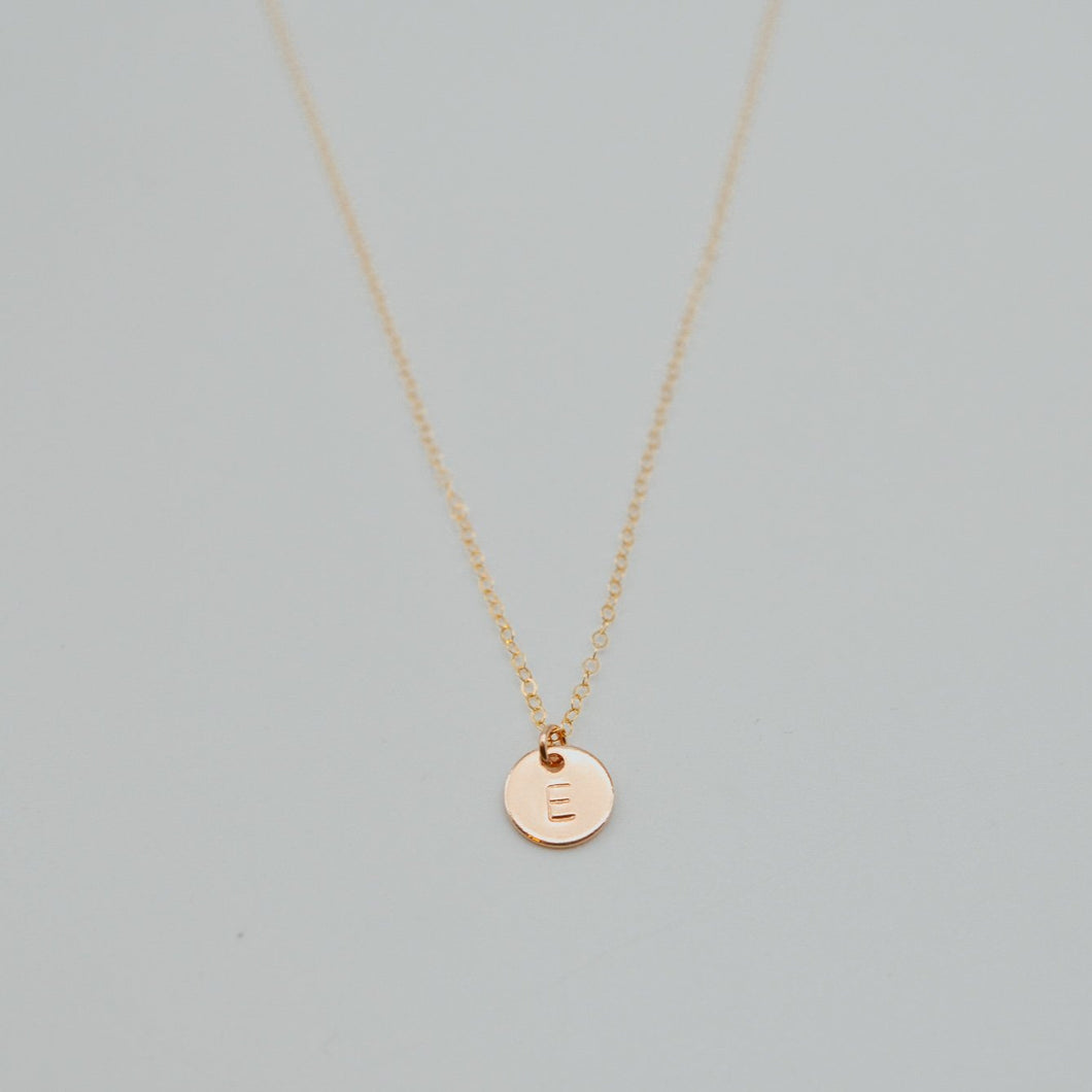Initial Letter Pendant Stamped Necklace