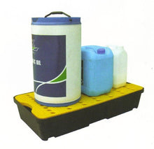 Load image into Gallery viewer, poly spill tray yellow holding various chemicals
