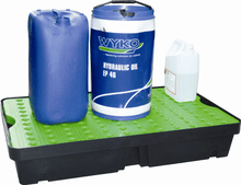 Load image into Gallery viewer, poly spill tray green holding hydraulic oil