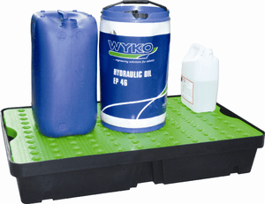 poly spill tray green holding hydraulic oil