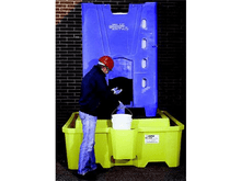 Load image into Gallery viewer, IBC Spill Pallets for corrosives yellow with blue IBC