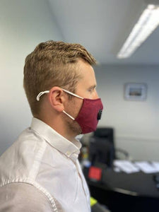 reusable face mask red on mans face side profile