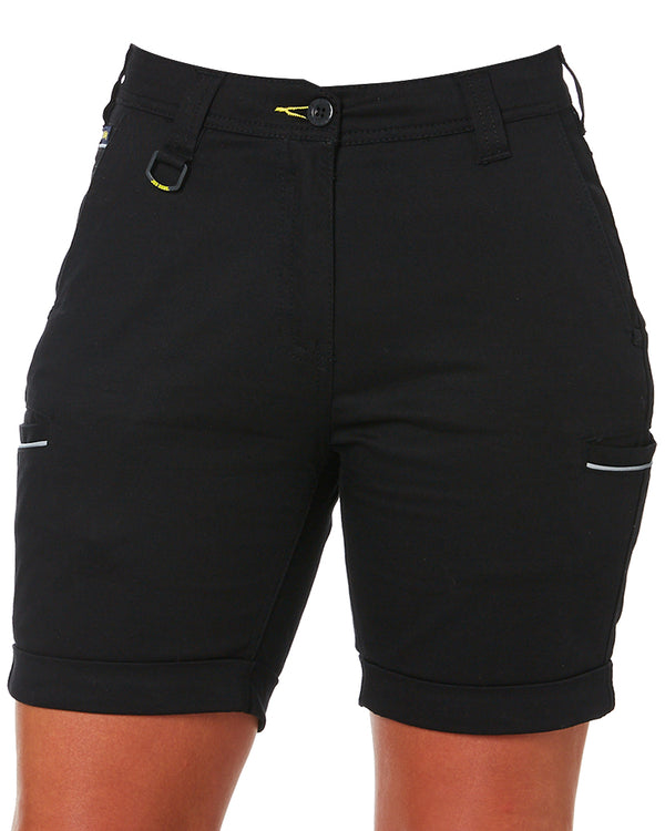 Womens Stretch Cotton Short - Black