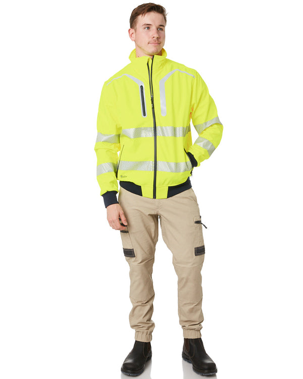 Taped Hi Vis Soft Shell Bomber Jacket - Yellow