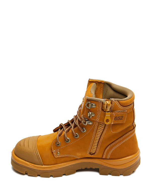 Argyle Lace Up Safety Boot with Zip and Scuff Cap - Wheat