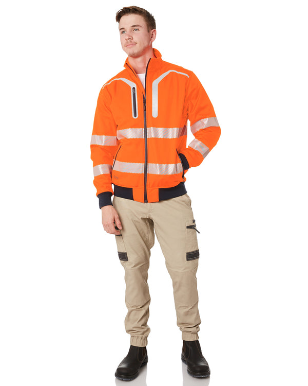 Taped Hi Vis Soft Shell Bomber Jacket - Orange