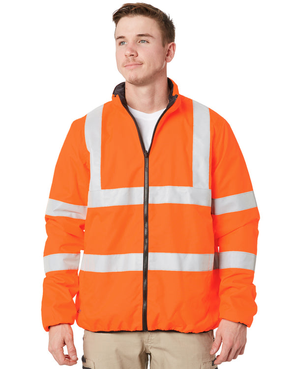 Hi Vis  Taped Reversible Puffer Jacket - Orange