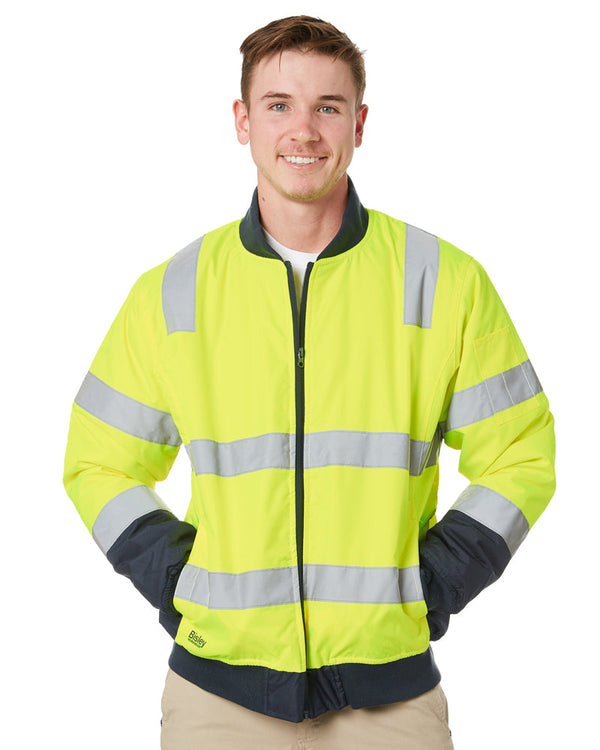 Taped Two Tone Hi Vis Bomber Jacket - Yellow/Navy