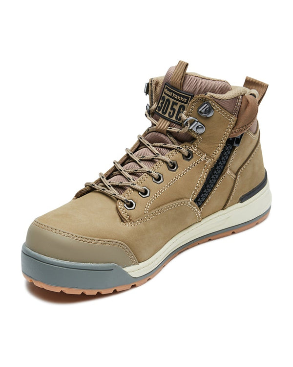 3056 Lace Zip Safety Boot - Stone