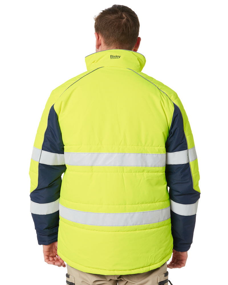 Taped Two Tone Hi Vis Puffer Jacket * - Yellow/Navy