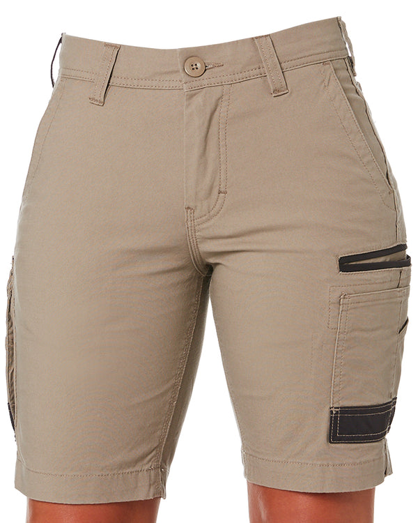 WS-3W Ladies Stretch Work Shorts - Khaki