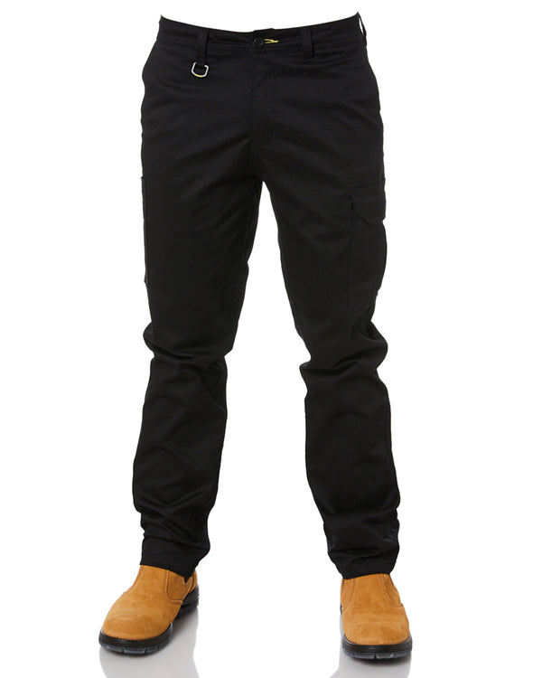 Stretch Cotton Drill Cargo Pants - Black