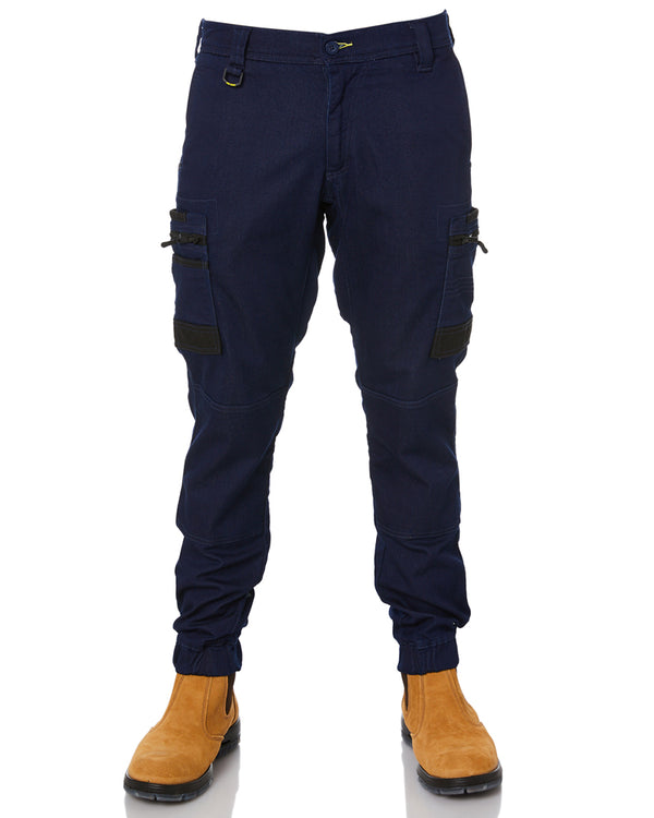 Flex and Move Stretch Denim Cargo Cuffed Pants - Denim