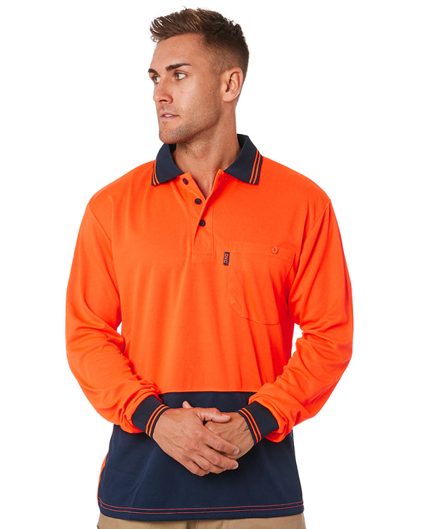 HiVis Cool Breathe Polo Shirt LS - Orange/Navy