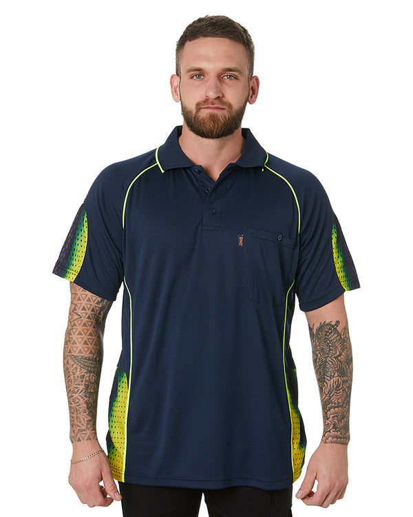 Hi Vis Taped SS Micromesh Polo - Orange/Navy
