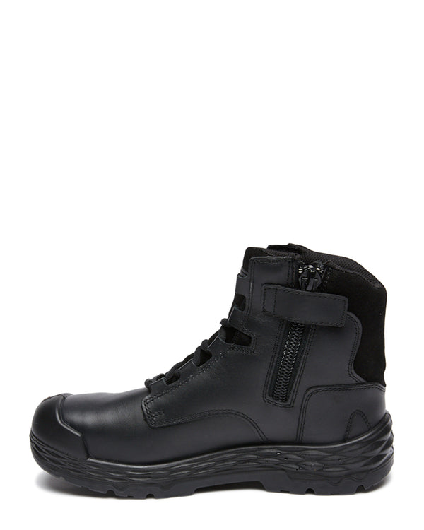 Force Lace Up Safety Boot with Zip - Black