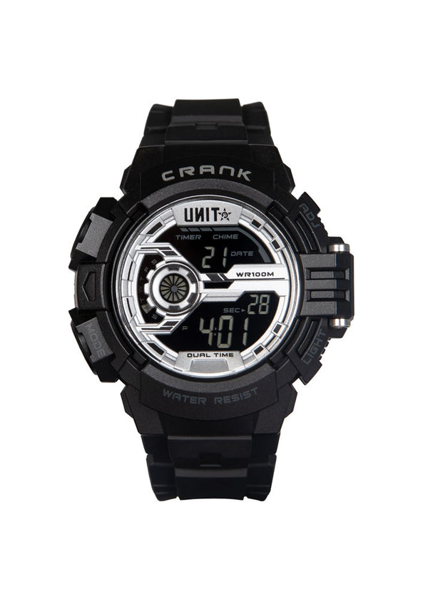 Crank Digital Watch - Black/Silver