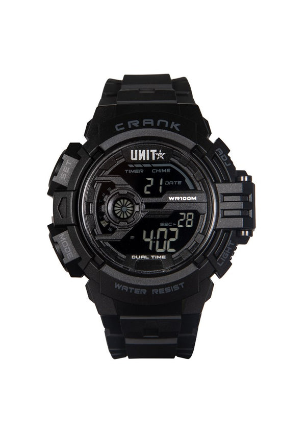 Crank Digital Watch - Black