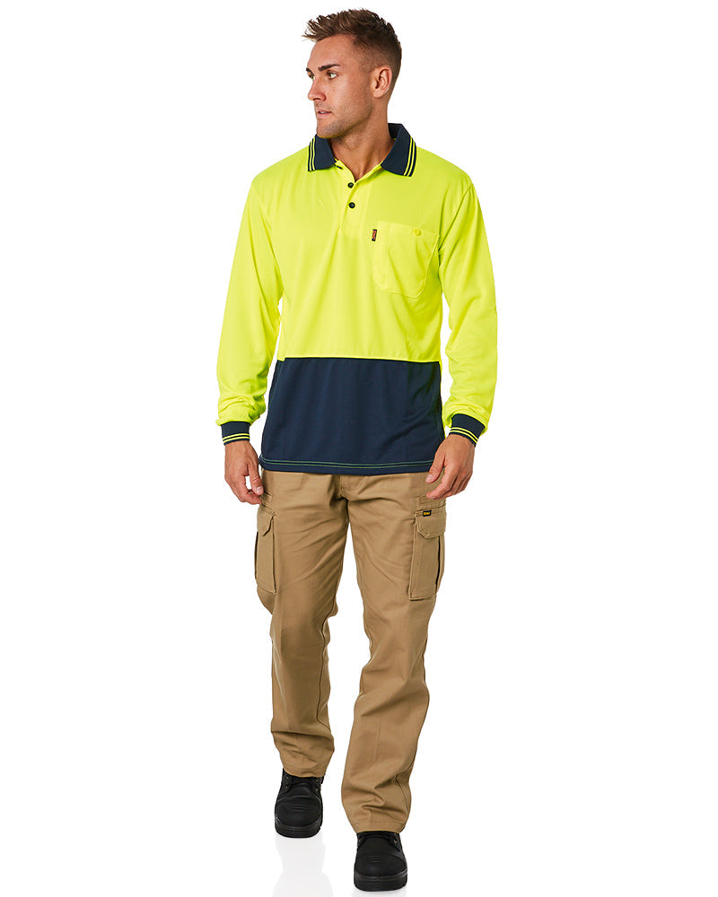 HiVis Cool Breathe Polo Shirt LS - Yellow/Navy