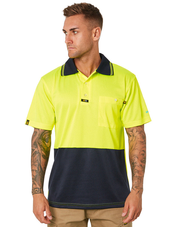 Basic Airwear Polo Shirt SS - Yellow/Navy