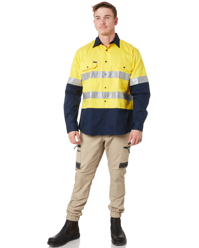 Open Front LS Shirt with 3M Tape - Yellow/Navy
