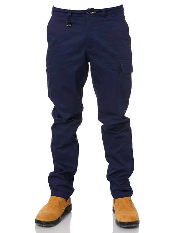 Stretch Cotton Drill Cargo Pants - Navy