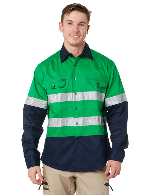 Open Front LS Shirt with 3M Tape - Emerald/Navy