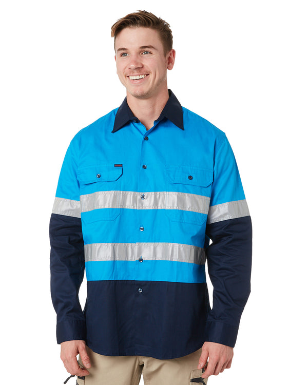 Vented Open Front LW LS Shirt 3M Tape - Blue/Navy
