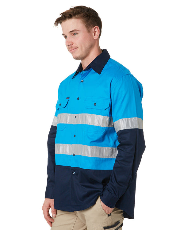 Vented Open Front LW L/S Shirt 3M Tape - Blue/Navy