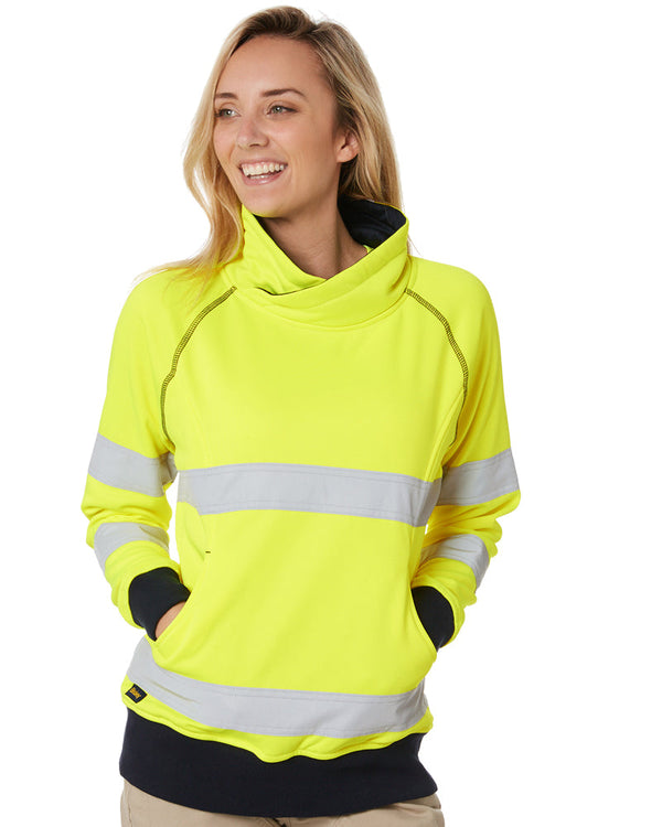 Womens Taped Hi Vis Fleece Jumper - Yellow
